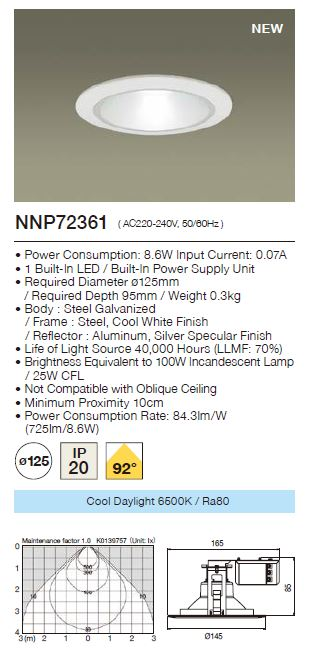 Panasonic LED Downlight  NNP72361